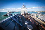 USS Monterey departs Rota, Spain after a scheduled port visit. (32079273122).jpg
