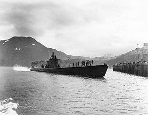 USS Triton (SS-201) - USS Triton at Dutch Harbor, Alaska, 16 July 1942