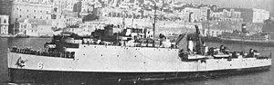 USS White Marsh (LSD-8) in the harbor at Malta, c. 1952.