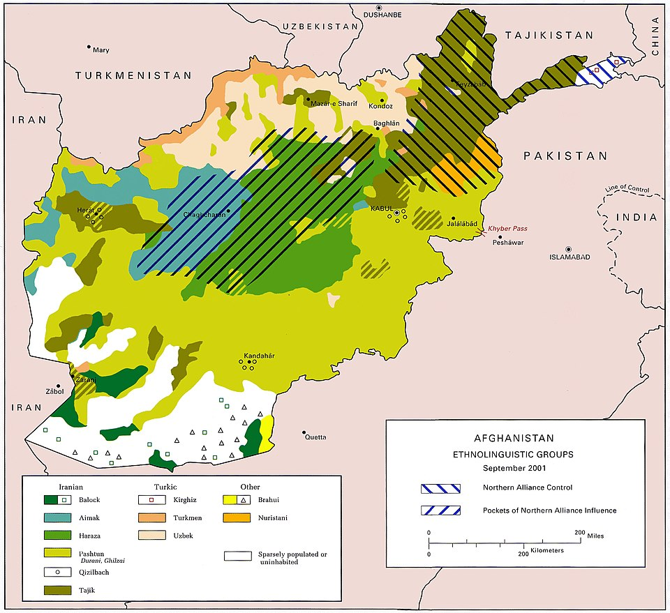 Ethnolinguistic groups of Afghanistan as of 2001 US Army ethnolinguistic map of Afghanistan -- circa 2001-09.jpg