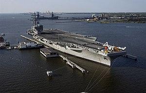 Lambert's Point Deperming Station - USS Ronald Reagan (CVN 76) prepares for deperming at Naval Station Norfolk Lambert's Point Deperming Station