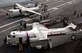 US Navy 040616-N-8148A-121 Two C-2A Greyhounds assigned to the Providers of Fleet Logistics Support Squadron Three Zero (VRC-30) shut-down their engines on the flight deck.jpg