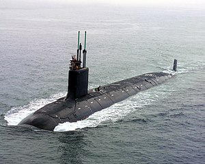 Submarine -  Virginia-class submarine underway in Groton, Connecticut, July 2004