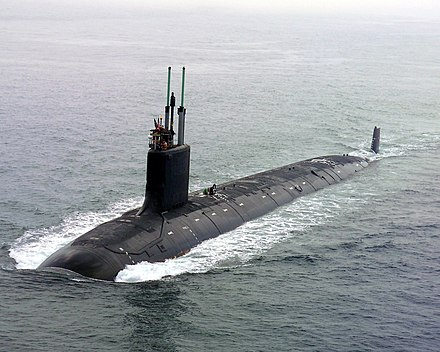 USS Virginia (SSN-774), a Virginia-class attack submarine US Navy 040730-N-1234E-002 PCU Virginia (SSN 774) returns to the General Dynamics Electric Boat shipyard.jpg