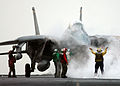 US Navy 050202-N-5345W-018 An F-14B Tomcat lines up on a steam-powered catapult prior to launching from the flight deck aboard the Nimitz-class aircraft carrier USS Harry S. Truman (CVN 75).jpg