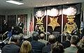 US Navy 051017-N-2383B-060 Former Commanding Officer, USS Hampton (SSN 767), Cmdr. Robert P. Burke, makes remarks during the Twenty-fifth Annual Vice Admiral James Bond Stockdale Leadership Award Ceremony.jpg