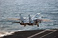 US Navy 051218-N-7241L-003 An F-14D Tomcat assigned to the Blacklions of Fighter Squadron Two One Three (VF-213) launches from the flight deck aboard the Nimitz-class aircraft carrier USS Theodore Roosevelt (CVN 71).jpg
