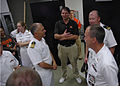 US Navy 060831-N-1805P-008 Sailors from amphibious transport dock ship USS Cleveland (LPD 7) were welcomed by legendary former Cleveland Browns quarterback Bernie Kosar.jpg