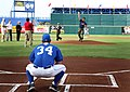 US Navy 070430-N-3271W-004 Special Warfare Boat Operator 2nd Class Andrew Elliot throws out the first pitch at an Omaha Royals baseball game at Rosenblatt Stadium.jpg