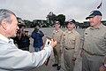 US Navy 070812-N-8704K-192 Peru's Regional President of La Libertad, Jose Murgia, presents a letter of appreciation to the Military Sealift Command (MSC) hospital ship USNS Comfort (T-AH 20), leadership.jpg