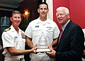 US Navy 070924-N-2100S-001 Georgia Senator Saxby Chambliss and the Nimitz-class nuclear-powered aircraft carrier USS Carl Vinson (CVN-70) Commanding Officer Capt. Ted Carter, present Chief Aviation Electronics Technician Joshua.jpg