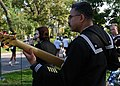 """US Navy 071007-N-7163S-003 Sailors assigned to Navy Band Great Lakes """"Horizon"""" entertain passing runners at the 15-mile marker of the Twin Cities Marathon.jpg"""