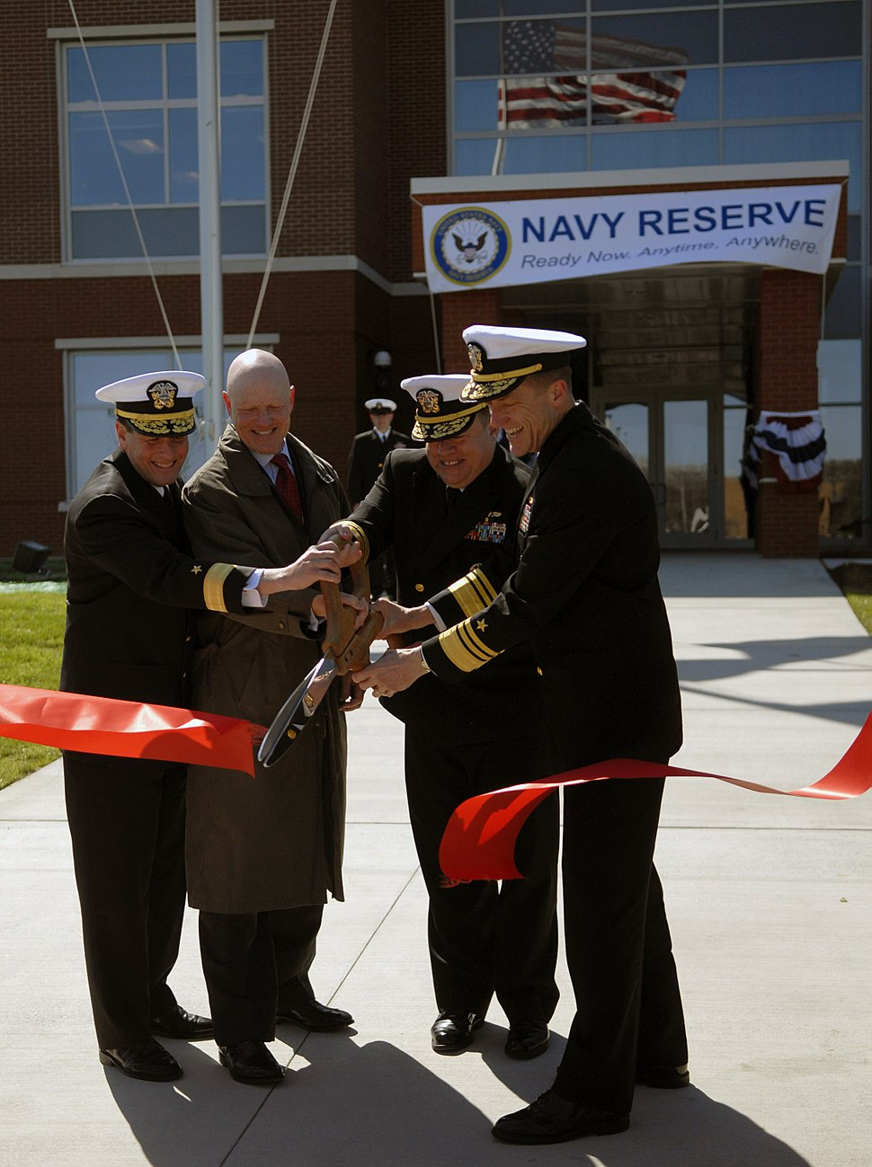 US Navy 090324-N-6367N-175 Admirals participate in the ribbon cutting ceremony for the opening of the new Navy Reserve Forces Command Headquarters at Naval Station Norfolk