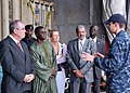US Navy 090917-N-8138M-001 Philip Sinkinson, British High Commisioner to the Republic of the Gambia, left, Dr. Ousman Jammeh, Gambian Minister of Foreign Affairs, Ms. Danielle Roban, French Charge d'Affaires to Gambia.jpg