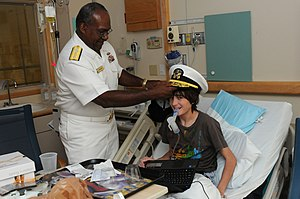 Rainbow Babies & Children's Hospital - Image: US Navy 100901 N 6736S 002 Rear Adm. Julius S. Caesar, right, vice director of Joint Concept Development ^ Experimentation at U.S. Joint Forces Command, visits a patient at Rainbow Babies ^ Children's Hospital