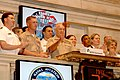 US Navy 110527-N-9954T-107 Lt. Gen Dennis Hajlik strikes a gavel to ring the bell signaling the close of the day at the New York Stock Exchange dur.jpg