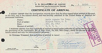 Maria von Trapp - Maria von Trapp's certificate of arrival into Niagara Falls, New York, on 30 December 1942
