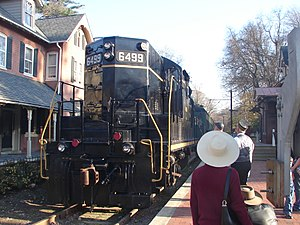 Glen Mills, Pennsylvania - A West Chester Railroad train at Glen Mills Station