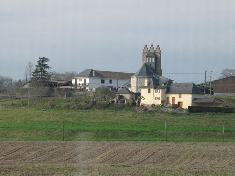 The village of Undurein and its church with trinitarian steeple (Pyrénées-Atlantiques, France).