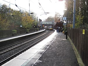 University (Birmingham) railway station - View south, from the northbound platform.