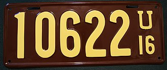 Vehicle registration plates of Utah - Image: Utah 1916 license plate Number 10622