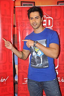 Varun Dhawan with 'Student Of The Year' team at Red FM 93.5 & Radio Mirchi 98.3 FM.jpg