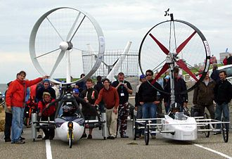 Wind-powered vehicle - Competition rotor-powered vehicles:  Ventomobile and winD TUrbine set for a drag race.