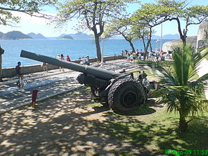 Fort Copacabana - Vickers-Armstrong Mark XIX 6″ gun on display at Fort Copacabana.