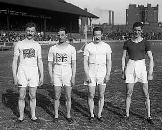 Athletics at the 1912 Summer Olympics – Men's 4 × 100 metres relay - Image: Victor d'Arcy, Willie Applegarth, Henry Macintosh, David Jacobs 1913