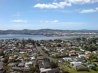 South Auckland - A view northwards from Mangere Mountain over part of South Auckland, with Onehunga in the distance