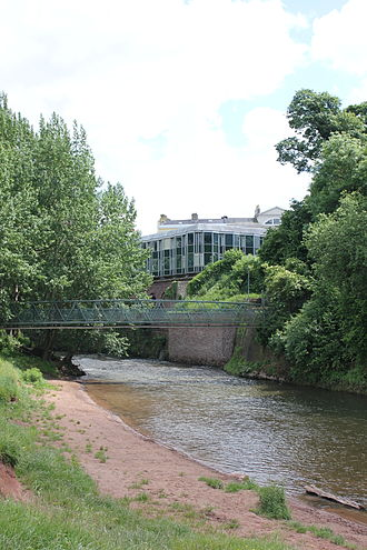 Monmouth Museum - View of Monmouth Museum from Vauxhall Fields, including the River Monnow