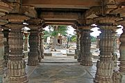 View of ornate pillared hall in Mahadeva Temple at Itagi