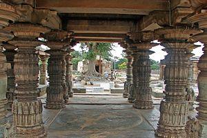 Koppal district - Open mantapa (hall) at the Mahadeva Temple in Itagi, the Koppal district, 1112 CE