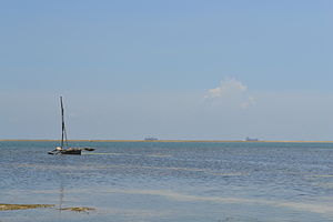 View out to sea on Nyali Beach next to the Mombasa Beach Hotel during low tide and still conditions in Mombasa, Kenya.jpg