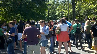 A crowd of evacuees in McLean, Virginia. Image: Claire Schmitt.