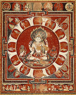 Chitrakar - Paubha painting showing Vishnu Mandala (15th century).