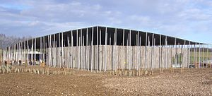English Heritage - Stonehenge visitors' centre. Opened in December 2013, over 2 km west of the monument, just off the A360 road in Wiltshire.