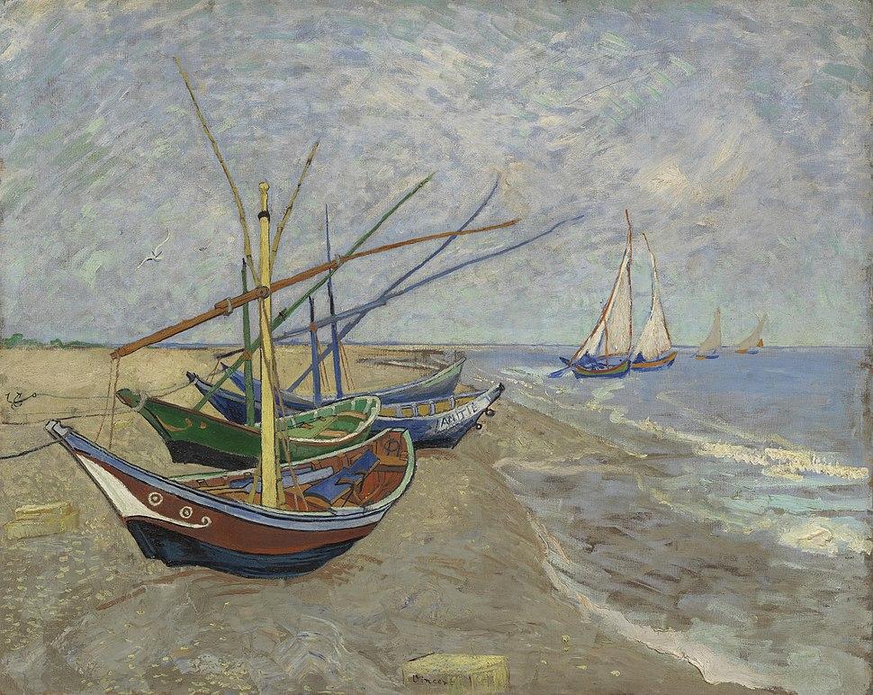Vissersboten op het strand van Les Saintes-Maries-de-la-Mer - s0028V1962 - Van Gogh Museum