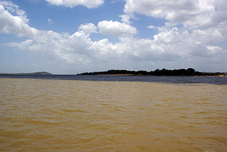 Orinoco Basin - Union of the waters of the Orinoco with the Caroní, in the background. The two stripes can be seen by the different coloration of the two rivers.