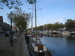 Old harbour in the centre of Vlaardingen