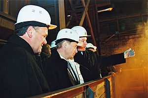 Magnitogorsk Iron and Steel Works - President Putin visits the plant, December 2000.
