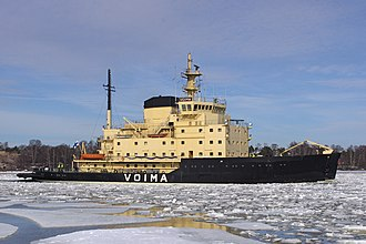 Voima (1952 icebreaker) - Voima leaving Helsinki on 5 April 2011