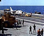 Vought F8U-1E Crusader of VMF-232 aboard USS Hancock (CVA-19), in 1962.jpg