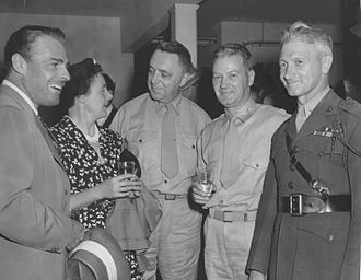 John Marston (USMC) - Wake Island premiere, San Diego, August 24, 1942. L to R: Actor Brian Donlevy, Mrs. Venepha P. Hermle, Major General John Marston, Colonel Leo D. Hermle, and Major Raymond W. Hanson.