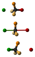 The three steps of an SN2 reaction. The nucleophile is green and the leaving group is red