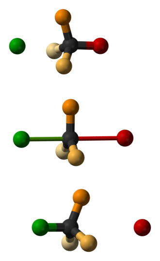 Walden inversion - Montage, using ball-and-stick models, of the three steps in an S<sub>N</sub>2 reaction.  The nucleophile is green, the leaving group is red and the three substituents are orange.