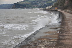 Waves breaking on the sea wall at Teignmouth (0165).jpg