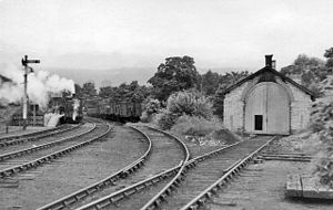 Weardale Railway - Wearhead railway station and engine shed on the last day of passenger service in 1953