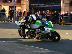2011 Manx Grand Prix - Michael Sweeney 600 cc Yamaha R6 – Wednesday Evening Practice 24 August 2011, Parliament Square Ramsey.