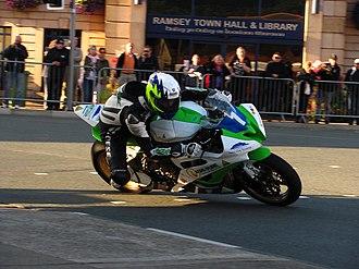 2011 Manx Grand Prix - Michael Sweeney 600 cc Yamaha R6 – Wednesday Evening Practice 24 August 2011, Parliament Square Ramsey.